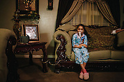 Yareli Gonzalez, 7, suffers from asthma and receives two nebulizer treatments per day, indefinitely. Gonzalez lives in Shafter, a rural town in Kern County, California where 20 per cent are diagnosed with asthma due to polluted air.