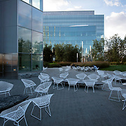 October 4, 2016 - New York, N.Y. : Men sit outside the cafe at the CUNY Advanced Science Research Center, left, and the City College Center for Discovery and Innovation, far, at the City College of New York on Tuesday afternoon, October 4. <br /> CREDIT: Karsten Moran for The New York Times