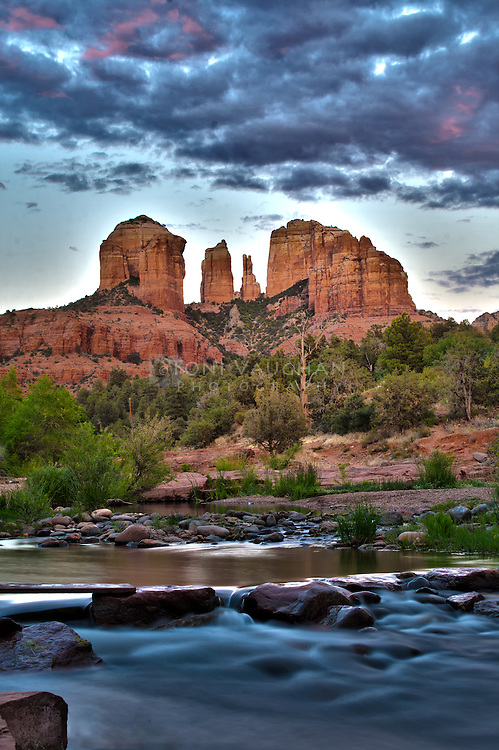 One of the most photographed scenes in the southwest is towering Cathedral Rock reflected in the waters of Oak Creek at Red Rock Crossing in Sedona, Arizona. <br />