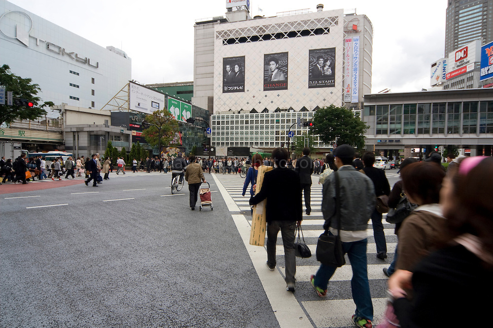 Scramble crossing at Hachiko Square Shibuya, reportedly the world's busiest pedestrian crossing. It's surrounded by video screens, giving a very bladerunner feel. It's overlooked by one of the busiest Starbucks cafes in the world. The crossing also features in a scene from Lost in Translation with Bill Murray and Scarlet Johansson..