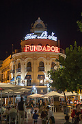 El Gallo Azul rotunda building cafe built in 1929 advertising Fundador brandy, Jerez de la Frontera, Spain