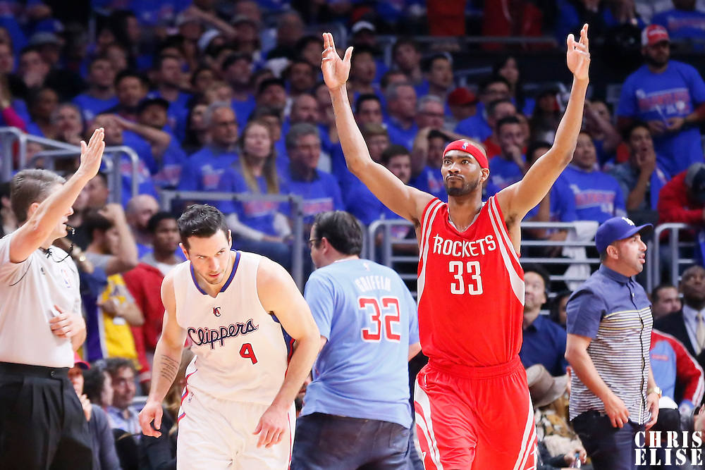 14 May 2015: Houston Rockets guard Corey Brewer (33) celebrates next to Los Angeles Clippers guard J.J. Redick (4) during the Houston Rockets 119-107 victory over the Los Angeles Clippers, in game 6 of the Western Conference semifinals, at the Staples Center, Los Angeles, California, USA.