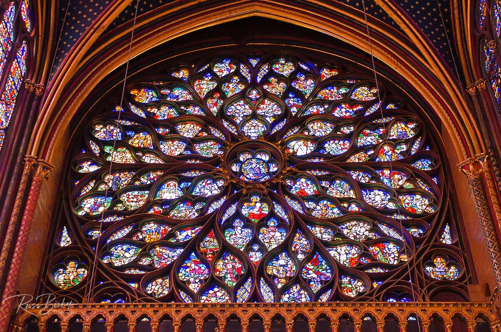 Stained glass windows in Sainte-Chapelle Chapel, Paris, France