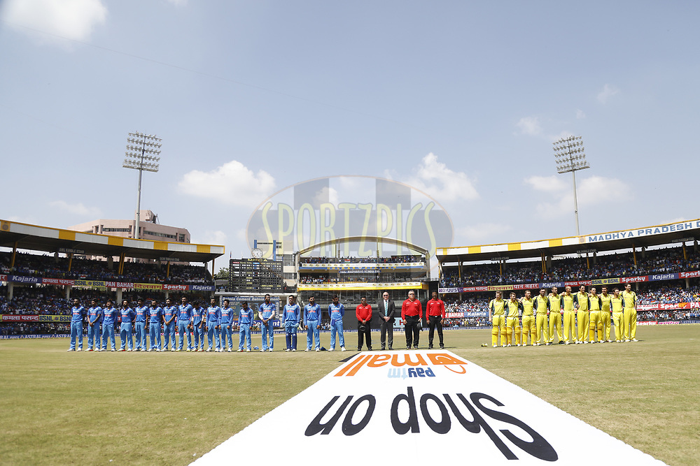 India Players and Australia Players line up for national anthem during the 3rd One Day International between India and Australia held at the Holkar Stadium in Indore on the 24th  September 2017<br /> <br /> Photo by Arjun Singh / BCCI / SPORTZPICS