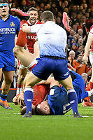 Rugby Union - 2020 Six Nations Championship - Wales vs. Italy<br /> <br /> Josh Adams of Wales scores in the final minutes, at the Principality (Millennium) Stadium.<br /> <br /> COLORSPORT/WINSTON BYNORTH
