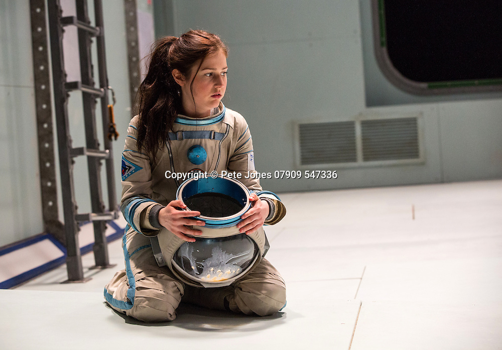 """""""X"""" by Alistair McDowell;<br /> Directed by Vicky Featherstone;<br /> Rita Zmitrowicz as Mattie;<br /> 1 April 2016;<br /> Jerwood Theatre Downstairs, Royal Ct, London, UK"""