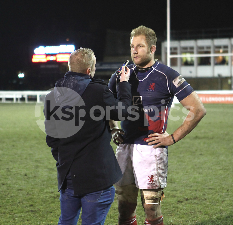 Mark Bright is interviewed after the Green King IPA Championship match between London Scottish &amp; Cornish Pirates at Richmond, Greater London on 16th January 2015<br /> <br /> Photo: Ken Sparks | UK Sports Pics Ltd<br /> London Scottish v Cornish Pirates, Green King IPA Championship, 16h January 2015<br /> <br /> &copy; UK Sports Pics Ltd. FA Accredited. Football League Licence No:  FL14/15/P5700.Football Conference Licence No: PCONF 051/14 Tel +44(0)7968 045353. email ken@uksportspics.co.uk, 7 Leslie Park Road, East Croydon, Surrey CR0 6TN. Credit UK Sports Pics Ltd