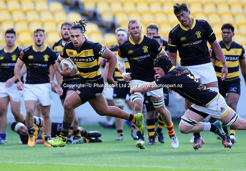 Taranaki Bulls Sean Wainui breaks clear to score a try during the Mitre 10 Cup rugby match between the Wellington Lions & Taranaki Bulls at Westpac Stadium, Wellington, New Zealand. 26th August 2017. © Copyright Photo: Grant Down / www.photosport.nz