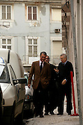 The candidate walking in the streets of Lisbon after beeing interviewed by the Catholic Radio Chain.