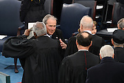 Former President George W. Bush embraces Supreme Court Justice Clarence Thomas before the start of the President Inaugural Ceremony on Capitol Hill January 20, 2017 in Washington, DC. Donald Trump became the 45th President of the United States in the ceremony.