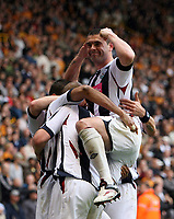 Photo: Rich Eaton.<br /> <br /> Wolverhampton Wanderers v West Bromwich Albion. Coca Cola Championship. Play off Semi Final, 1st Leg. 13/05/2007. West Brom captain Paul Robinson (right) celebrates after Diomansy Kamara scores to make it 3-2