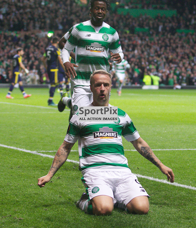 CelticÕs Leigh Griffiths celebrates after  opening the scoring during the Glasgow Celtic FC v Fenerbahe S.K Europa League Group A 1st October 2015 ©Edward Linton | SportPix.org.uk