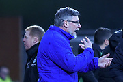 Craig Levein gives instructions during the William Hill Scottish Cup 4th round match between Heart of Midlothian and Hibernian at Tynecastle Stadium, Gorgie, Scotland on 21 January 2018. Photo by Kevin Murray.
