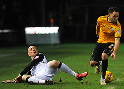 Kevin Ellison of Morecambe tackles Robbie Willmott of Newport County- Mandatory by-line: Nizaam Jones/JMP- 23/01/2018 - FOOTBALL - Rodney Parade - Newport, Wales- Newport County v Morecambe - Sky Bet League Two