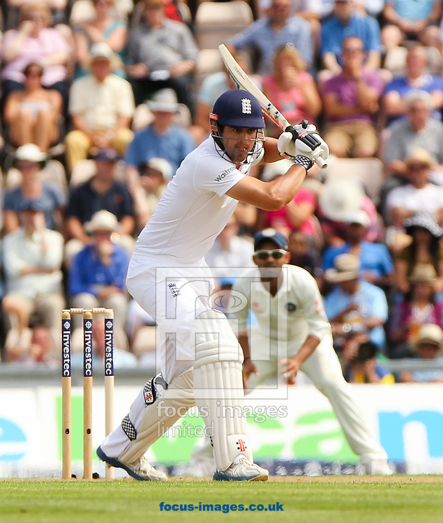 Alastair Cook of England bats during the Investec Test Match match at the Ageas Bowl, West End<br /> Picture by Tom Smith/Focus Images Ltd 07545141164<br /> 27/07/2014