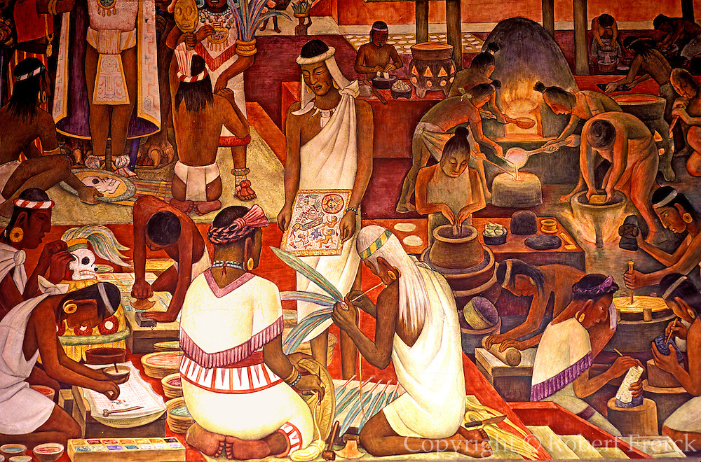 MEXICO, MEXICO CITY, MURAL Rivera mural of Zapotec crafts, artisans