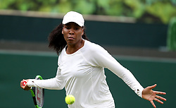 Venus Williams on No.1 court at The All England Lawn Tennis Club, London.