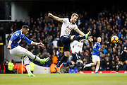 Tottenham Hotspur Forward Harry Kane (10) tries to block a clearance from Everton defender Ramiro Funes Mori (25) during the Premier League match between Tottenham Hotspur and Everton at White Hart Lane Stadium, London, England on 5 March 2017. Photo by Andy Walter.