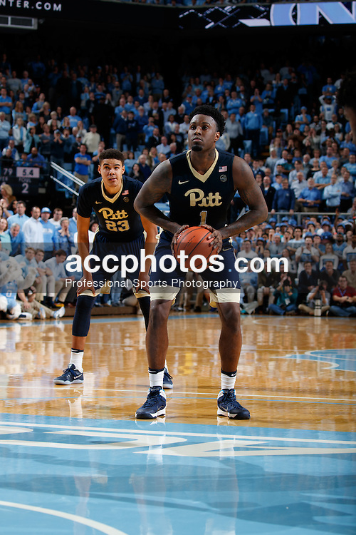 CHAPEL HILL, NC - JANUARY 31: Jamel Artis #1 of the Pittsburgh Panthers shoots a foul shot against the North Carolina Tar Heels on January 31, 2017 at the Dean Smith Center in Chapel Hill, North Carolina. North Carolina won 80-78. (Photo by Peyton Williams/UNC/Getty Images) *** Local Caption *** Jamel Artis