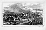 Napoleon at the Battle of Lutzen, 2 May 1813. Napoleon forced the Prussian and Russian forces  to retreat but, with an inexperienced army and a lack of cavalry, he was unable to pursue the enemy.  19th century lithograph.