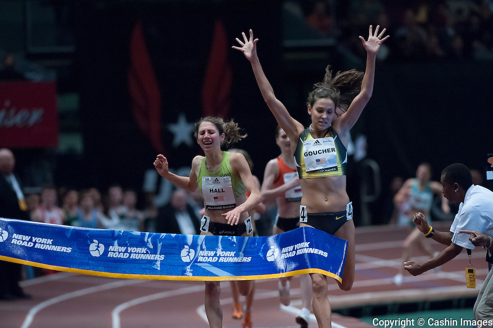 American long-distance runner Kara Goucher just beats Sara Hall to the tape in the Women's 1 Mile Run at the 101st Millrose Games at  Madison Square Garden on Feb 2nd 2008
