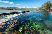 Giant Springs flows into the Missouri River at Giant Springs State Park, Great Falls, Montana.