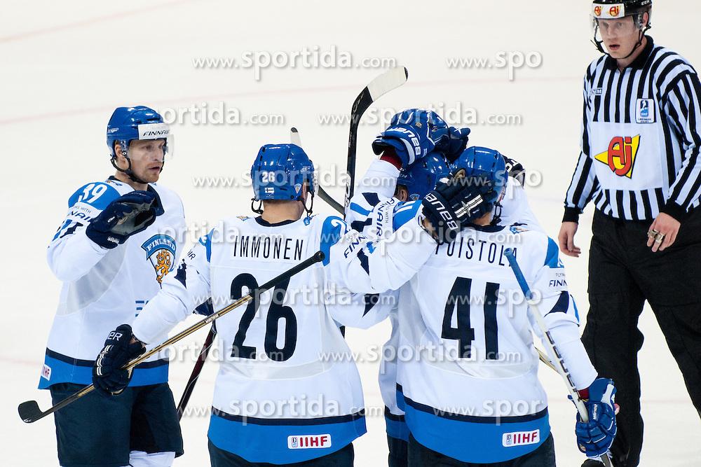Team Finland celebrate goal during ice-hockey match between Finland and Denmark of Group D of IIHF 2011 World Championship Slovakia, on April 30, 2011 in Orange Arena, Bratislava, Slovakia. (Photo by Matic Klansek Velej / Sportida)