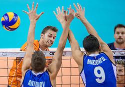 19-08-2017 NED: Oefeninterland Nederland - Italië, Apeldoorn<br /> De Nederlandse volleybal mannen spelen hun tweede oefeninterland van twee in Topsporthal De Voorwaarts tegen Italie als laatste voorbereiding op het EK in Polen / Robbert Andringa #18