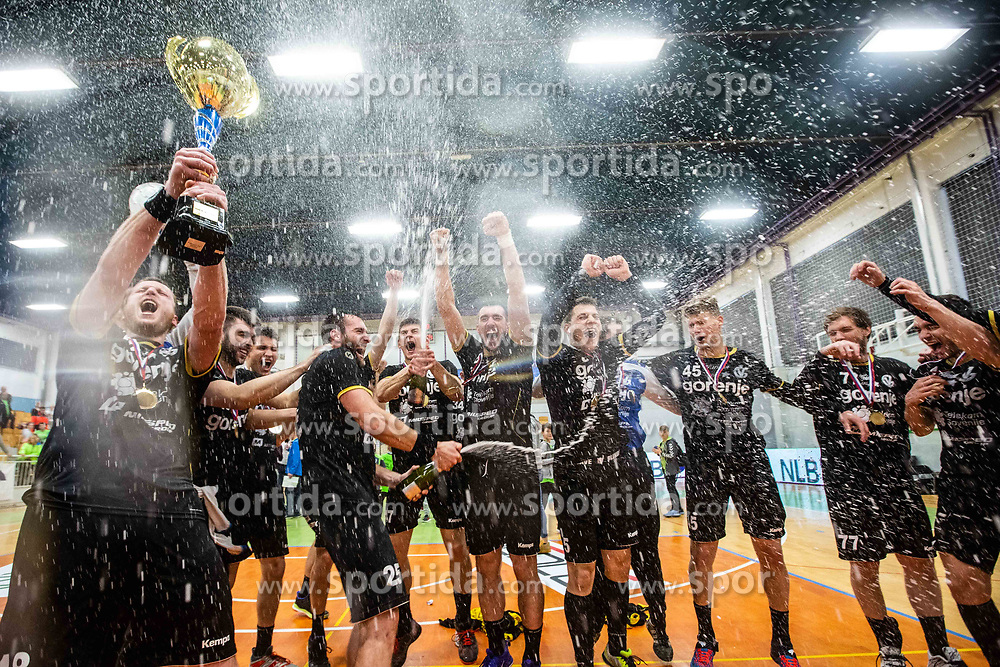 RK Gorenje Velenje after winning Slovenian cup 2019,  handball match between RK Gorenje Velenje and MRK Krka in Final of Slovenian Men Handball Cup 2018/19, on Maj 12, 2019 in Novo Mesto, Slovenia. Photo by Grega Valancic / Sportida
