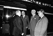 17/07/1967<br /> 07/17/1967<br /> 17 July 1967<br /> Cardinal John Cody, Archbishop of Boston arrives at Heuston Station, Dublin. Image shows Cardinal Cody of Chicago (left) chatting with An Tanaiste Frank Aiken, Minister for External Affairs; Mr. Twomey, Veritas Travel and John Slattery, Executive Secretary C.T.S.I. (Catholic Truth Society of Ireland) at Heuston train station.