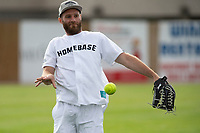 KELOWNA, CANADA - JUNE 28: KHL player Cody Franson warms up in the field during the opening charity game of the Home Base Slo-Pitch Tournament fundraiser for the Kelowna General Hospital Foundation JoeAnna's House on June 28, 2019 at Elk's Stadium in Kelowna, British Columbia, Canada.  (Photo by Marissa Baecker/Shoot the Breeze)