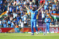Cricket - 2019 ICC Cricket World Cup - Group Stage: India vs. Afghanistan<br /> <br /> Mohammed Shami of India celebrates taking the wicket of Mohammad Nabi of Afghanistan who was caught by Hardik Pandya of India during the cricket world cup match at the Hampshire Bowl, Southampton.<br /> <br /> COLORSPORT/SHAUN BOGGUST