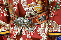 Mongolie, Province du Khentii, Badshireet, fetes du Naadam, population Bouriate, ceinture en cuir et argent // Mongolia, Khentii province, Badshireet, Naadam festival, Buriat population, silver and leather belt