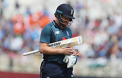 England's Jonny Bairstow is dismissed lbw by Kuldeep Yadav by during the One Day International Series match at Trent Bridge, Nottingham.