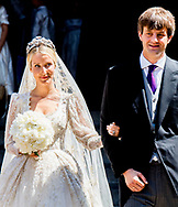 8-7-2017 HANNOVER - wedding of  wedding ceremony of heir of the throne of German House of Hanover, Prince Ernst August Jr. of Hanover, Duke of Braunscshweig and Lueneburg, and Russian designer Ekaterina Masysheva at the Marktkirche church in Hanover, Germany, 08 July 2017. The son of Prince Ernst August of Hanover Sen., who is married to Princess Caroline of Monaco, is related to several royal houses in Europe. The House of Hanover is a German royal dynasty that also ruled the United Kingdom between COPYRIGHT ROBIN UTRECHT