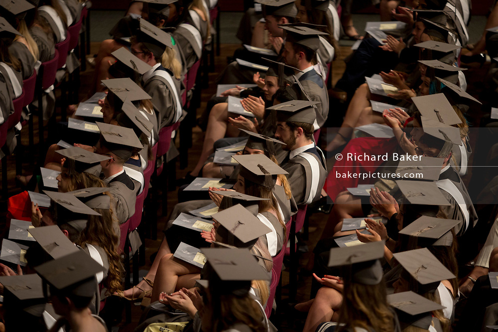 Rows of young graduates during their university graduation ceremony, on 13th July 2017, in the Central Hall at the University of York, England.