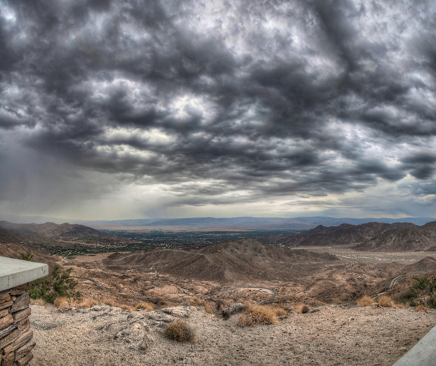 View from above Palm Springs, California as a storm is rolling in.