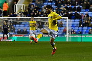Tyler Roberts (11) of Leeds United brings the ball down during the EFL Sky Bet Championship match between Reading and Leeds United at the Madejski Stadium, Reading, England on 12 March 2019.
