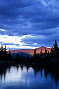 Fancy Lake, and evening alpenglow on Homestake Peak, Holy Cross Wilderness, White River National Forest, Colorado