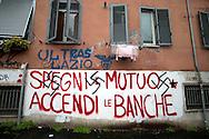Roma 10 Febbraio 2010.Svastiche  su  scritte cdei centri sociali al quartiere Tufello