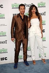 Matthew McConaughey with Camila Alves at the 2014 Film Independent Spirit Awards Arrivals, Santa Monica Beach, Santa Monica, United States, Saturday, 1st March 2014. Picture by Hollywood Bubbles / i-Images<br /> UK ONLY