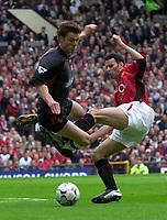 Photo. Richard Lane<br />Manchester United v Charlton. Barclaycard Premiership 3/5/2003.<br />Ryan Giggs (rt) and Scott Parker challenge for the ball.