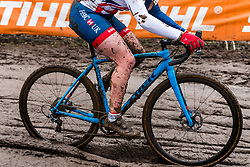 Harriet HARNDEN of Great Britain racing in the mud with her blue Trek during the Women Under 23 race, UCI Cyclo-cross World Championships at Valkenburg, the Netherlands, 3 February 2018. Photo by Pim Nijland / PelotonPhotos.com | All photos usage must carry mandatory copyright credit (Peloton Photos | Pim Nijland)