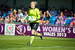 HAVERFORDWEST, WALES - Sunday, August 25, 2013: Wales' goalkeeper Alice Evans in action against France during the Group A match of the UEFA Women's Under-19 Championship Wales 2013 tournament at the Bridge Meadow Stadium. (Pic by David Rawcliffe/Propaganda)