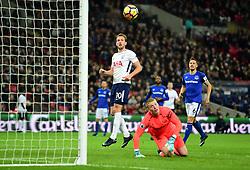 Harry Kane of Tottenham Hotspur watches as the ball goes over Jordan Pickford of Everton into the back of the net to break premier league record.  - Mandatory by-line: Alex James/JMP - 13/01/2018 - FOOTBALL - Wembley Stadium - London, England - Tottenham Hotspur v Everton - Premier League