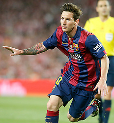 30.05.2015, Camp Nou, Barcelona, ESP, Copa del Rey, Athletic Club Bilbao vs FC Barcelona, Finale, im Bild FC Barcelona's Leo Messi celebrates goal // during the final match of spanish king's cup between Athletic Club Bilbao and Barcelona FC at Camp Nou in Barcelona, Spain on 2015/05/30. EXPA Pictures &copy; 2015, PhotoCredit: EXPA/ Alterphotos/ Acero<br /> <br /> *****ATTENTION - OUT of ESP, SUI*****