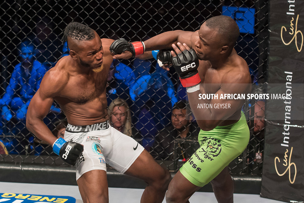 JOHANNESBURG, SOUTH AFRICA - MAY 13: (R-L) Rob Simbowe punches during EFC 59 Fight Night at Carnival City on May 13, 2017 in Johannesburg, South Africa. (Photo by Anton Geyser/EFC Worldwide/Gallo Images)