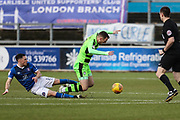 Forest Green Rovers Lee Collins(5) is brought down by Carlisle United's Mike Jones(8) during the EFL Sky Bet League 2 match between Carlisle United and Forest Green Rovers at Brunton Park, Carlisle, England on 27 January 2018. Photo by Shane Healey.