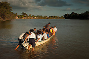 Amerindian School Children<br /> Rupununi River<br /> Rupununi<br /> GUYANA<br /> South America