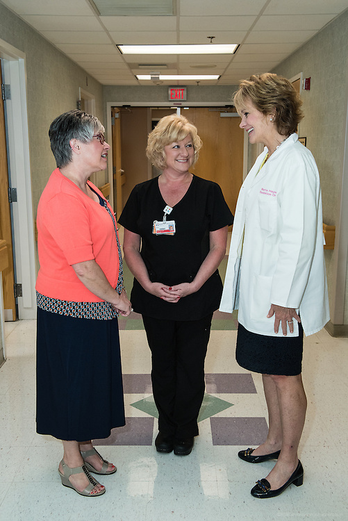 Cyberknife patient Debra Rooke speaks with Radiation Therapist Tina Hall and Radiation Oncologist Dr. Marta S. Hayne, Thursday, May 21, 2015 at Baptist Health in Lexington, Ky. (Photo by Brian Bohannon/Videobred for Baptist Health)
